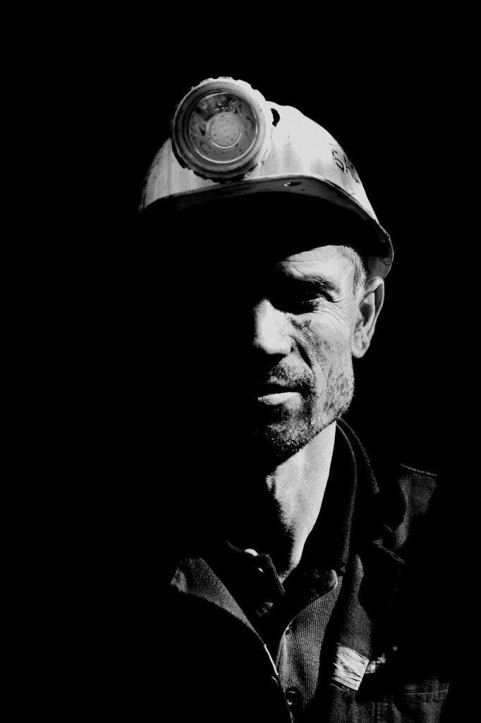 miner, portrait, black and white